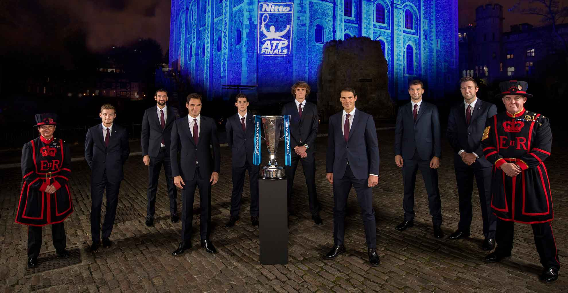 The world's top eight players attend the 2017 Nitto ATP Finals Official Launch, presented by Moët & Chandon, at the Tower of London.