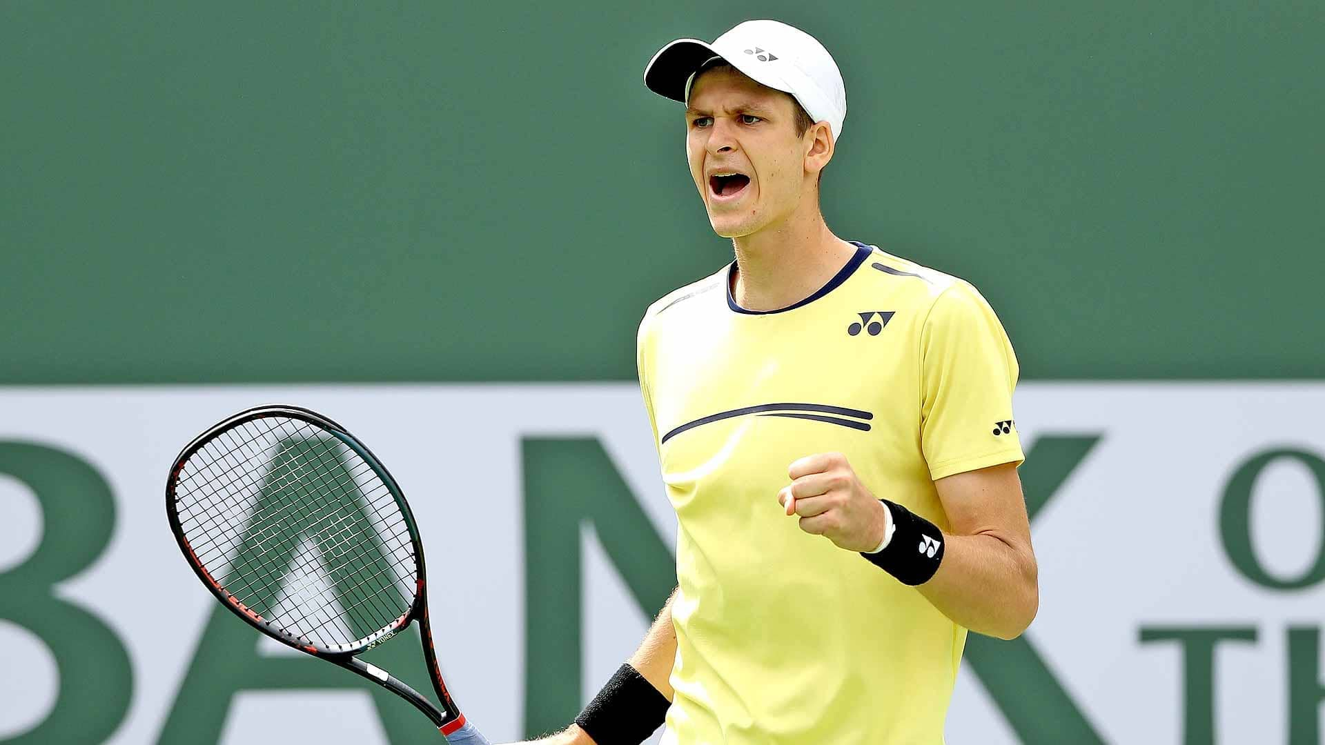 <a href='https://www.atptour.com/en/players/hubert-hurkacz/hb71/overview'>Hubert Hurkacz</a> celebrates a point during his third-round win at the 2019 <a href='https://www.atptour.com/en/tournaments/indian-wells/404/overview'>BNP Paribas Open</a>