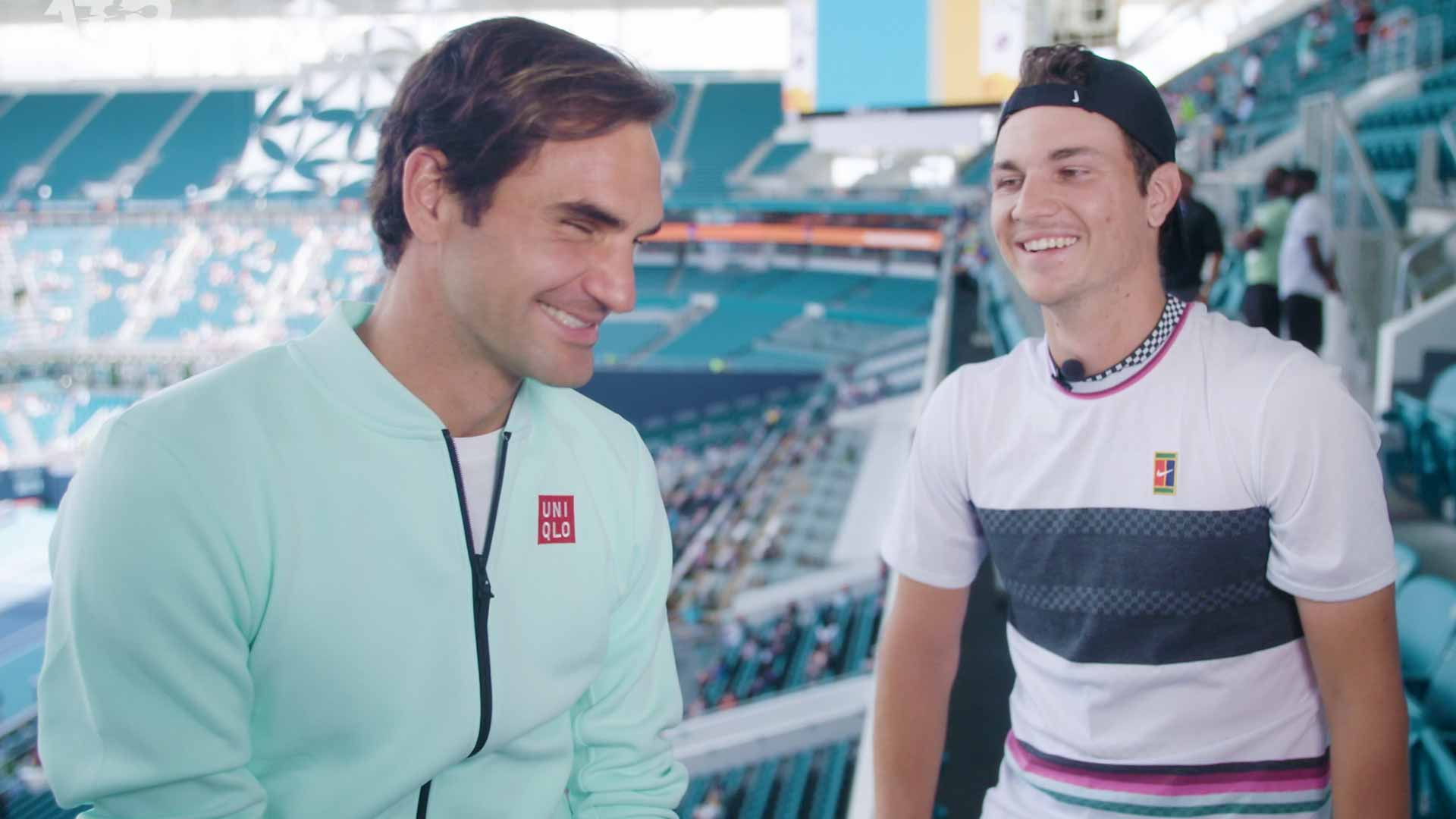 Roger Federer is interviewed by #NextGenATP reporter Miomir Kecmanovic at the Miami Open presented by Itau.