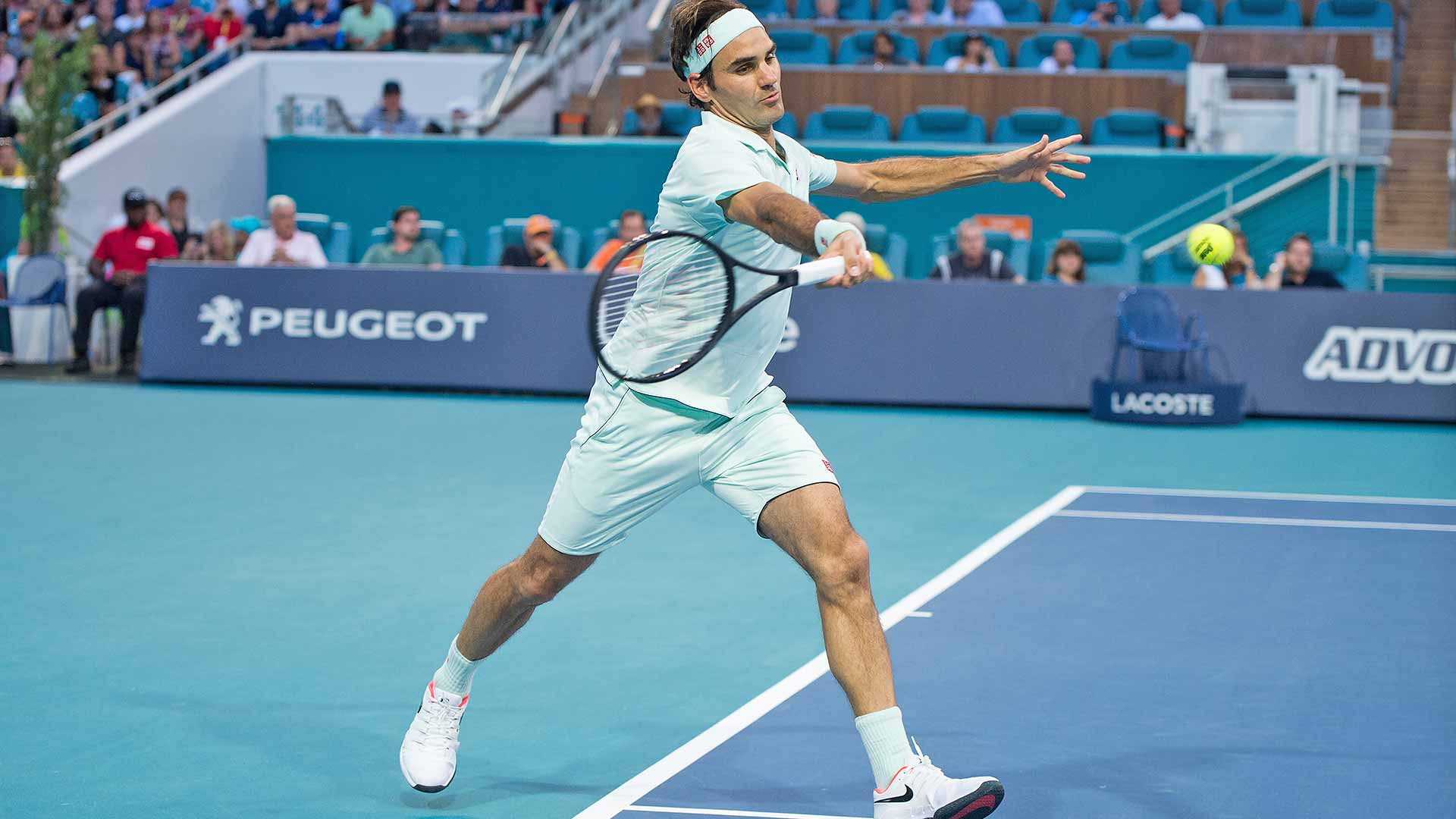 Roger Federer hit a forehand against Radu Albot at the Miami Open on Saturday.
