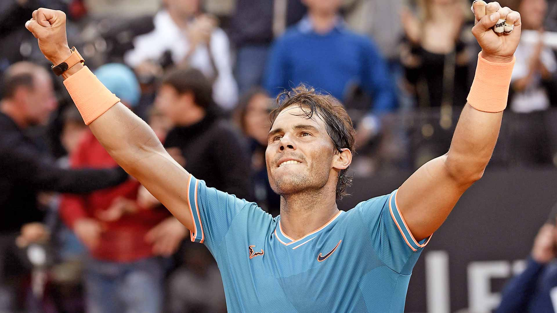 Rafael Nadal celebrates his Rome title