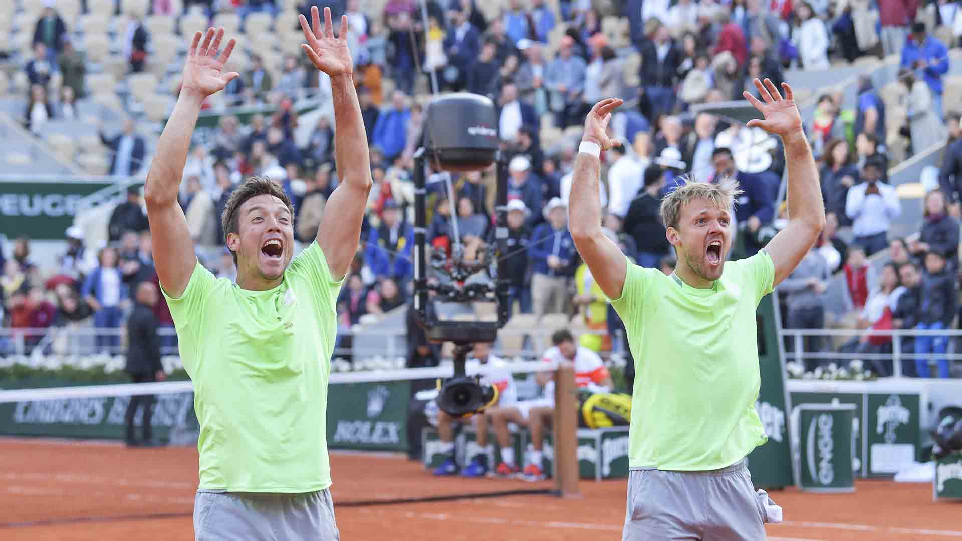 Andreas Mies and Kevin Krawietz win their first Grand Slam title at Roland Garros.