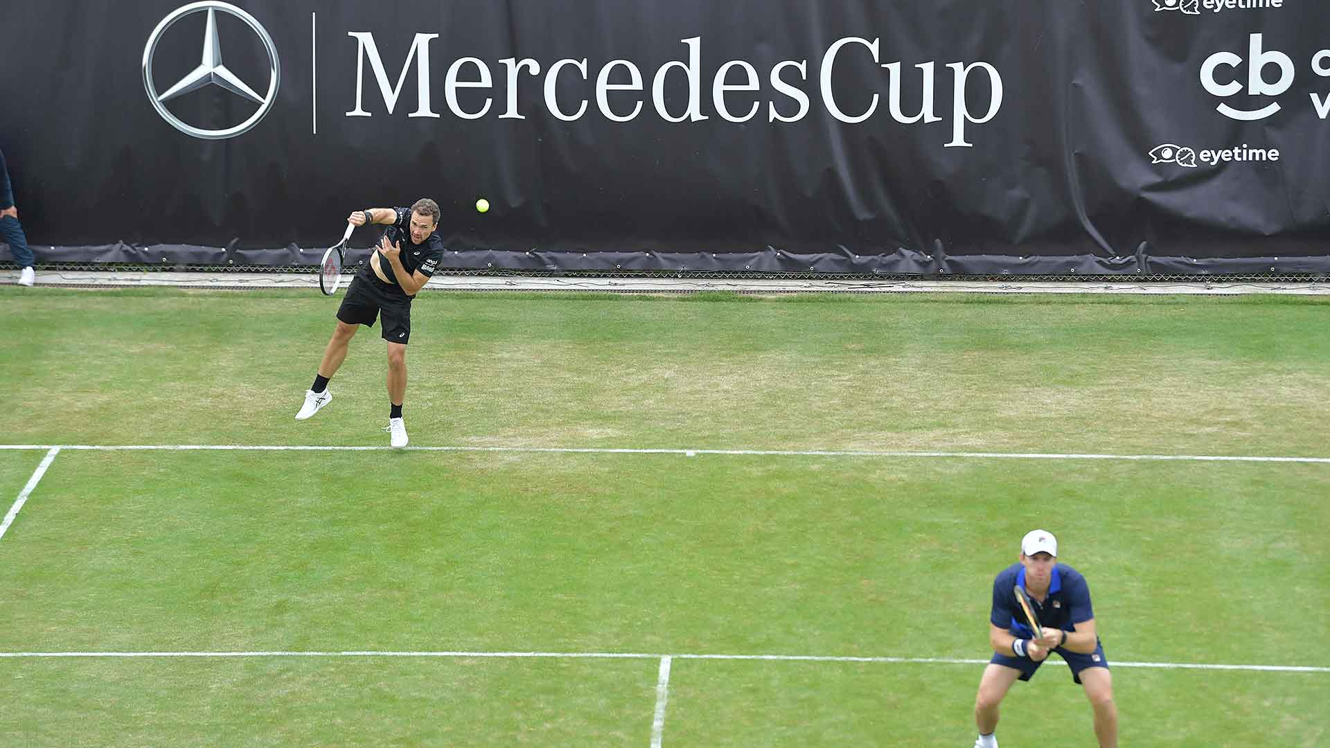 Bruno Soares and John Peers compete at the MercedesCup in Stuttgart