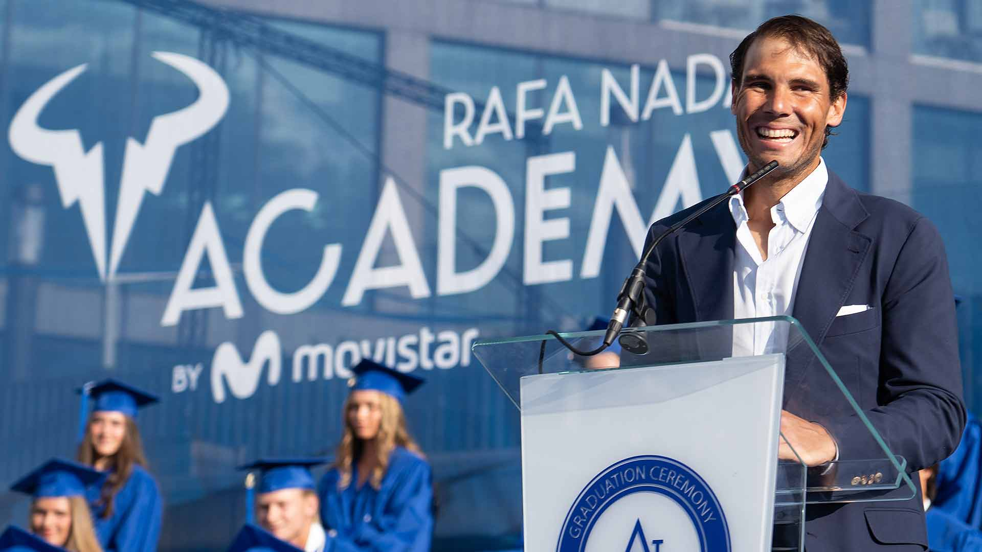 Rafael Nadal speaks at the commencement ceremony for the 2019 graduating class of the Rafa Nadal Academy by Movistar