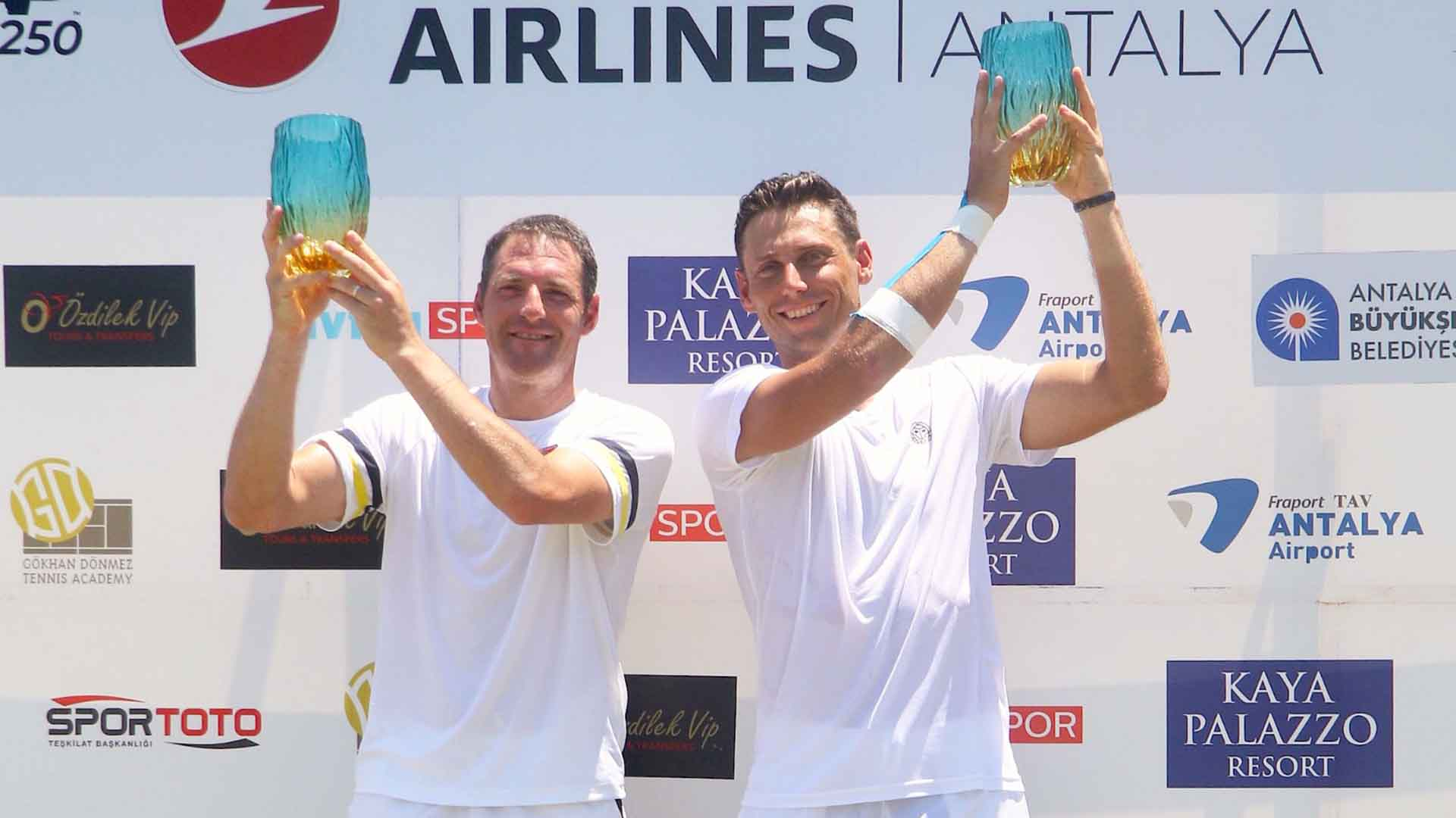 Jonathan Erlich and Artem Sitak lift their second team title on Saturday at the Turkish Airlines Open Antalya.