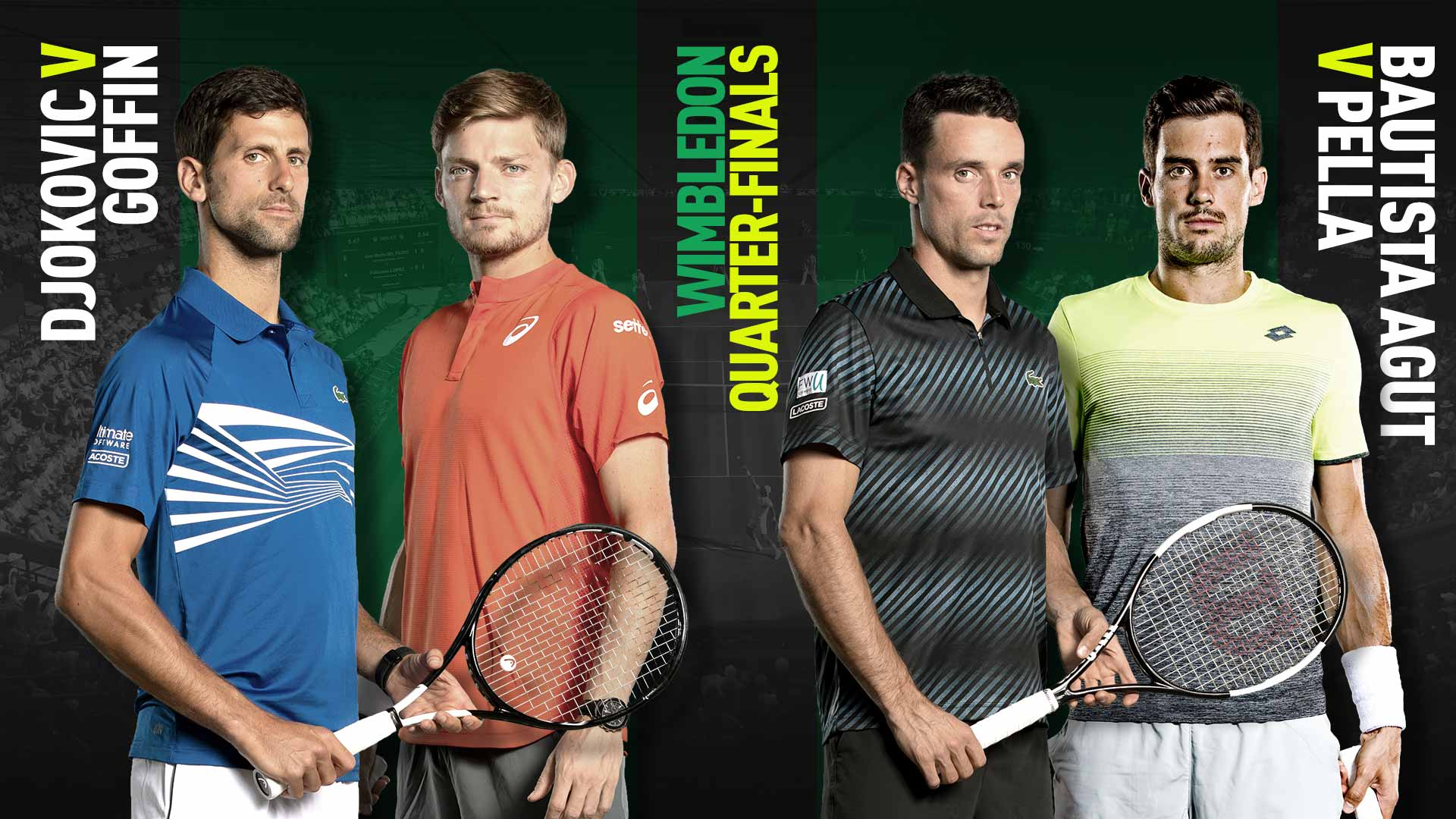 Novak Djokovic meets David Goffin, and Roberto Bautista Agut plays Guido Pella on Wednesday in the Wimbledon quarter-finals