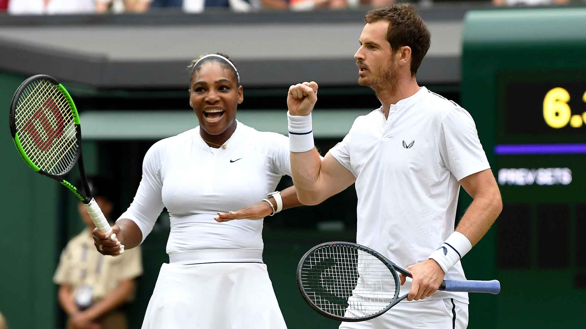 Serena Williams and Andy Murray are yet to drop a set in the Wimbledon mixed doubles draw.