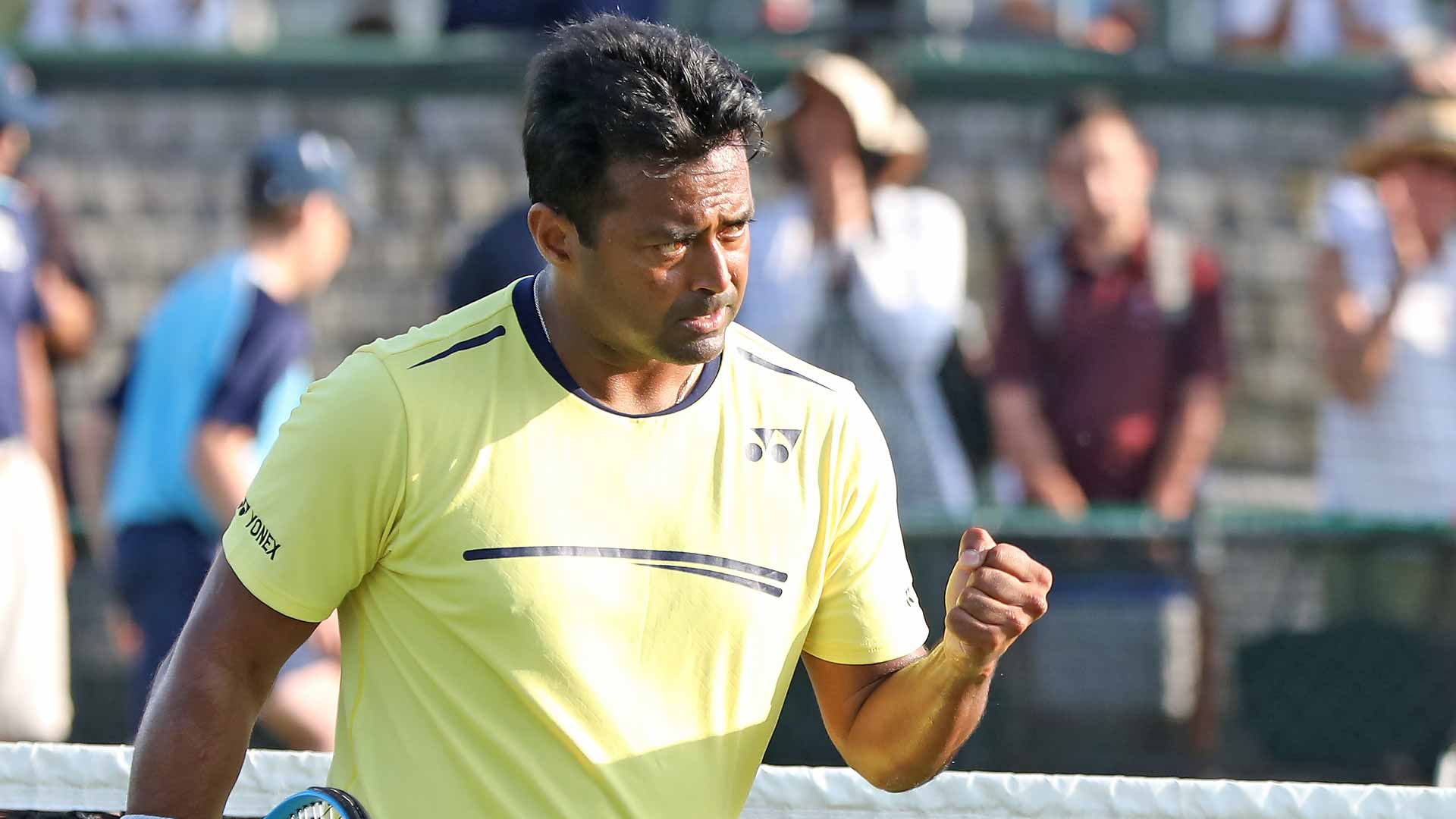 Leander Paes reacts at Newport 2019