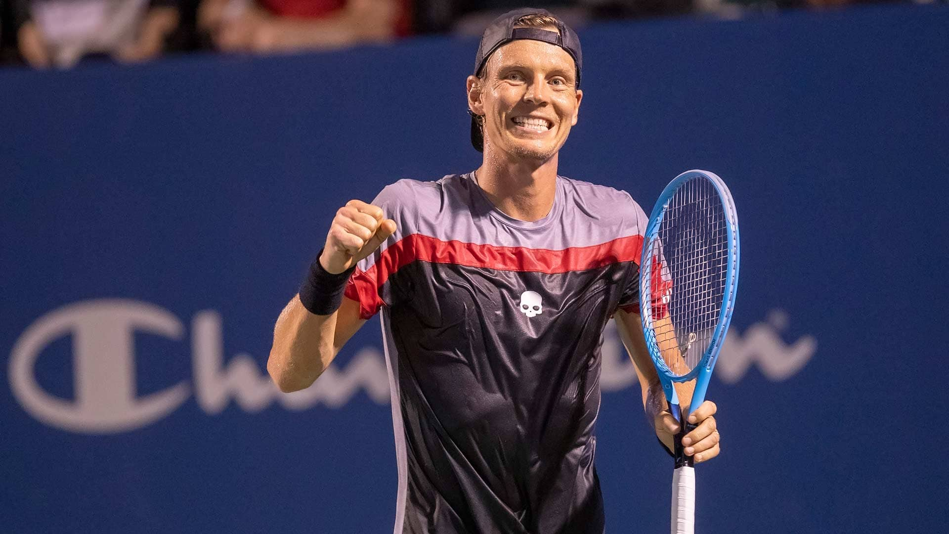 Tomas Berdych celebrates in Winston-Salem 2019