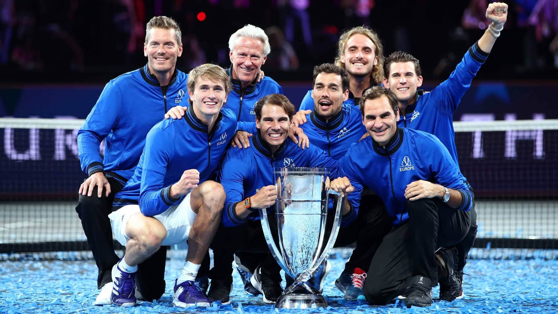 Team Europe celebrates winning 2019 Laver Cup