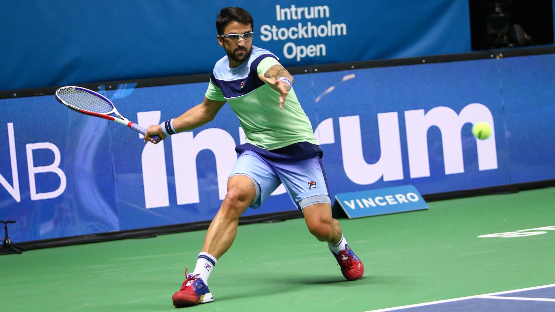 Janko Tipsarevic hits a forehand in Stockholm 2019