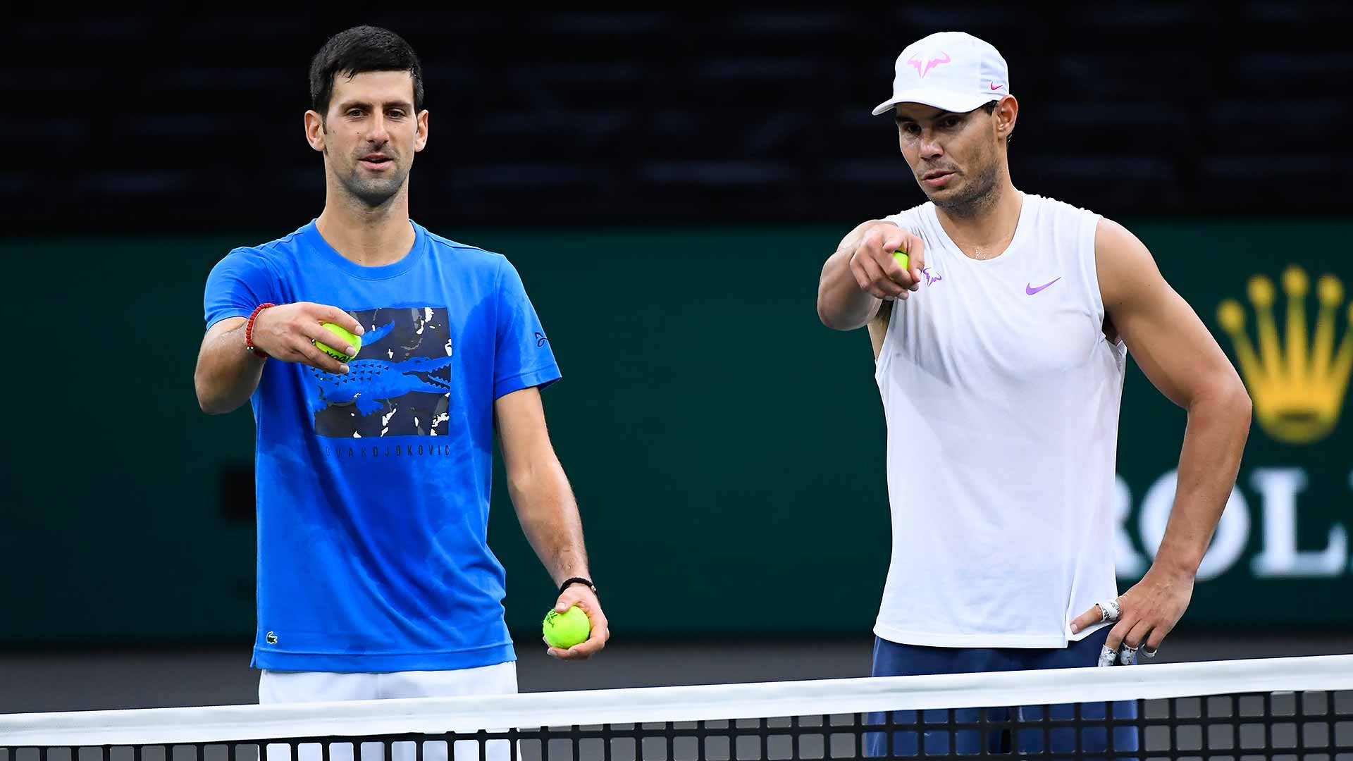 Novak Djokovic and Rafael Nadal practise together ahead of the Rolex Paris Masters.