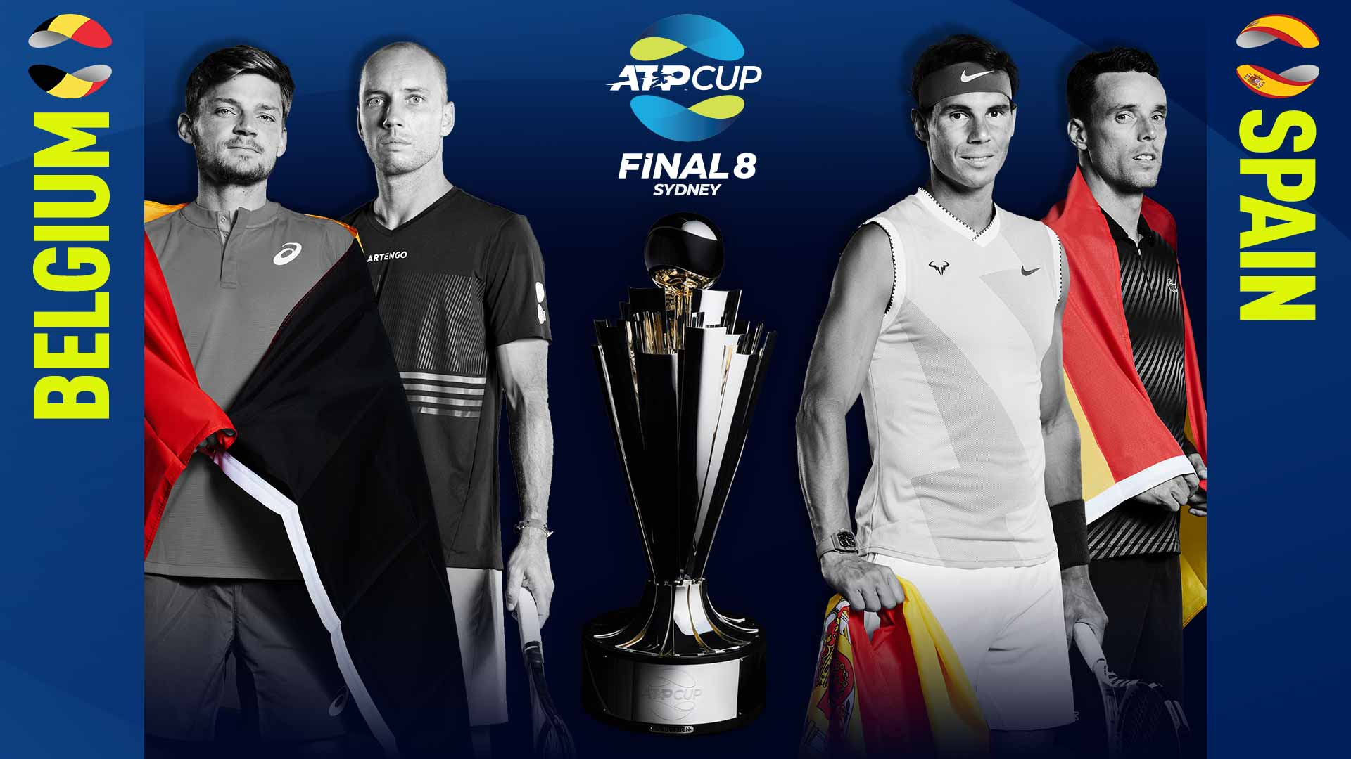 Belgium and Spain will meet in the night session on 10 January at the ATP Cup.
