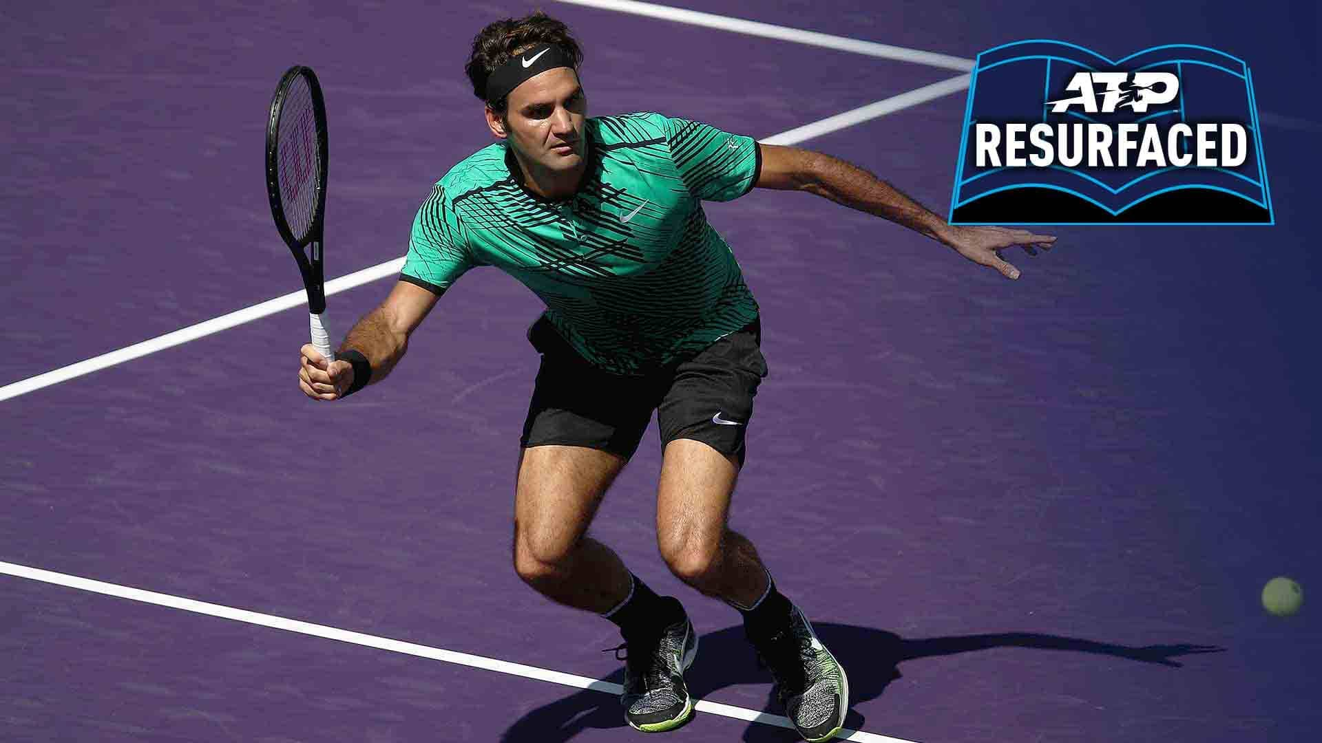 Roger Federer saves two match points against Tomas Berdych to reach the Miami Open presented by Itau semi-finals.